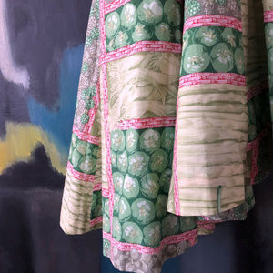 Summery Bamboo Print Green Cotton Long Skirt XS S